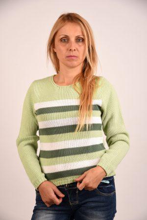Плетена блуза на зелено райе